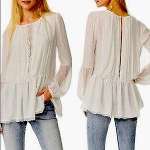 Free People Boho blouse+Long Sleeve+Lace+Sz XS